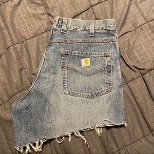 Carhartt Denim cutoff shorts faded distressed sz38